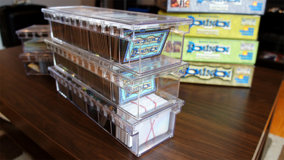 Sort quest the best way i 39 ve found to store my dominion for Board game storage solutions