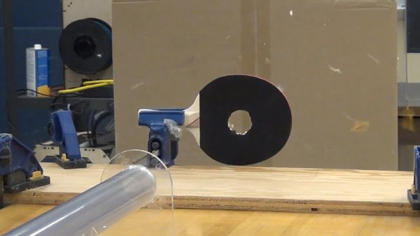 Ping Pong Ball Launcher Blows Past the Sound Barrier, Through a Paddle